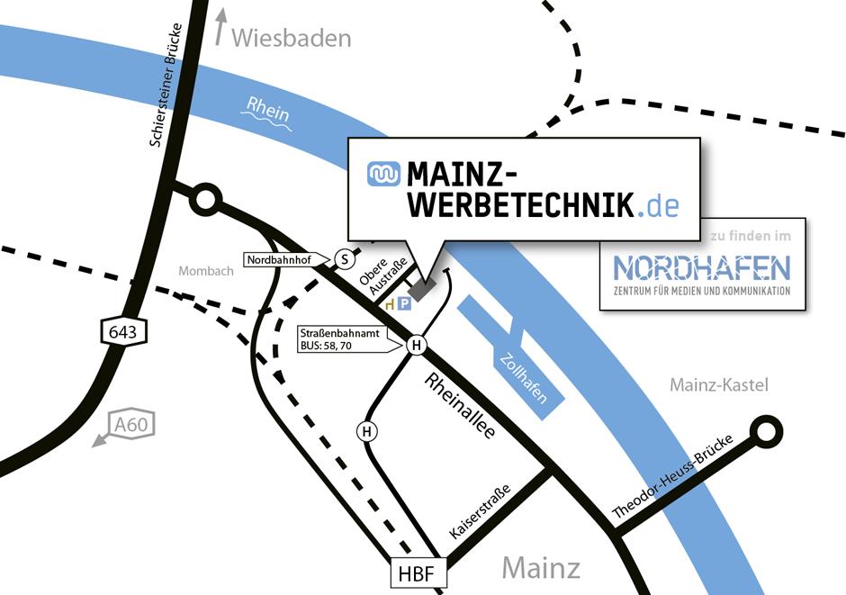 Anfahrt Mainz Werbetechnik
