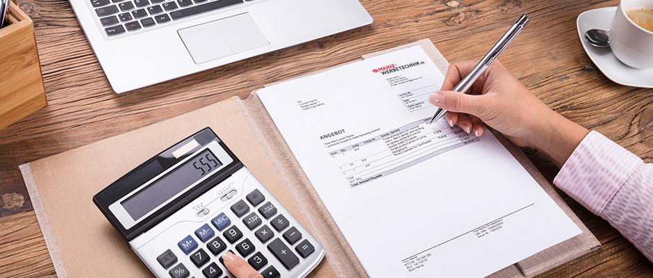 Mainz Werbetechnik Preise, Angebot, Kalkulation, Kostenvoranschlag, Kosten