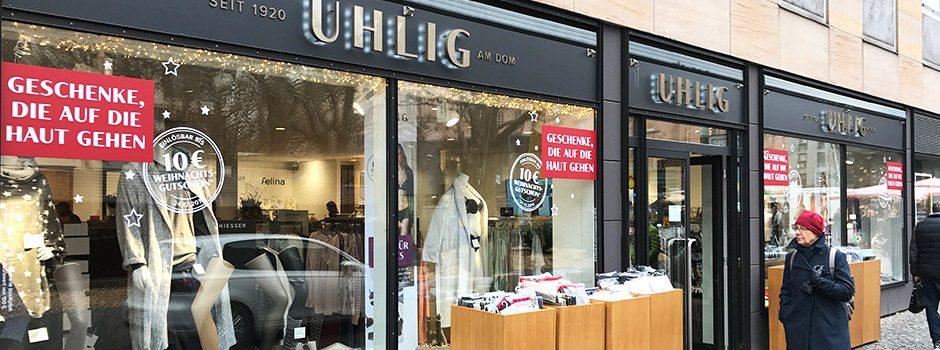 Schaufensterbeschriftung, Mainz, Uhlig, Folien